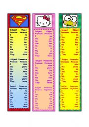 English Worksheets: Pronouns and Possessives Bookmarks