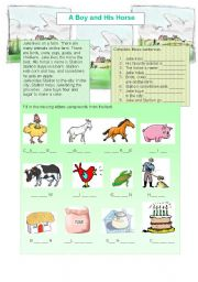 English Worksheets: A Boy and His Horse - Reading and Vocabulary