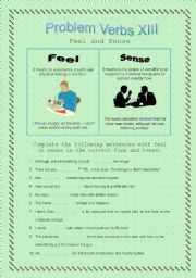 English Worksheet: Problem Verbs XIII - Feel and Sense - Theory and Practice - with key