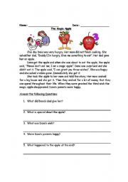 English Worksheets: The Magic apple- reading comprehension