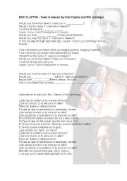 English Worksheet: Eric Clapton - Tears in Heaven