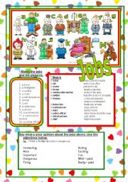 English Worksheet: JOBS (two pages)