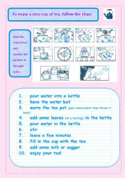 worksheet how to make a cup of tea english worksheet how to make a cup of tea