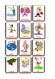 English Worksheet: Flashcards Sports and hobbies
