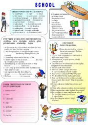 English Worksheets: SCHOOL - vocabulary, discussion