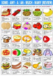 English Worksheet: SOME - ANY -A/AN - MUCH - MANY (REVIEW)