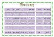 Mime cards for the game Taboo/Pictionary and mime