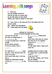English Worksheet: Song: Crying in the Rain