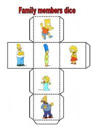 English Worksheet: family members dice