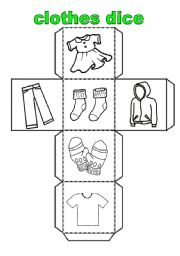 English Worksheet: clothes dice