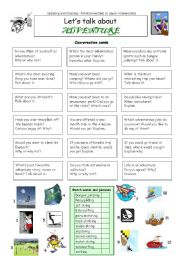 English Worksheet: Let�s talk about ADVENTURE