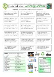 English Worksheet: Let�s talk about the ENVIRONMENT