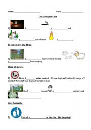 English Worksheet: The Countryside Code In Pictures
