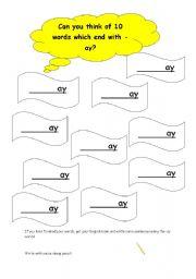 English Worksheets: ay words