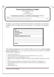 English Worksheet: Commercial Writing Assessment: Letter of Aplication