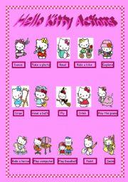English Worksheet: Hello kitty Actions