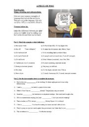 English Worksheet: Slang, swearing and colloquialisms. Language terms using ´Piss´.