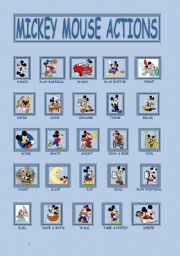 English Worksheet: Mickey Mouse Actions