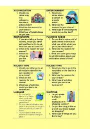 English Worksheets: TRAVEL SURVEY CARDS
