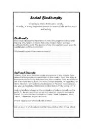 English Worksheets: Cultural Biodiversity