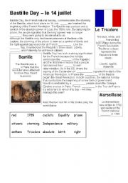 English Worksheets: Explanation and gap-fill task about Bastille Day