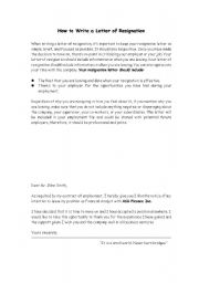English Worksheets: how to write letter of resignation