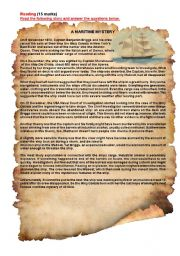 English Worksheet: Reading : A Maritime Mystery