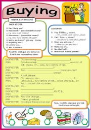 English Worksheets: FUNCTIONS: Buying food (17 / 5 / 09)