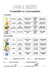 Food Countable or Uncountable http://www.eslprintables.com/vocabulary_worksheets/food/food_and_drinks/Countable_vs_Uncountable_Food__233411/