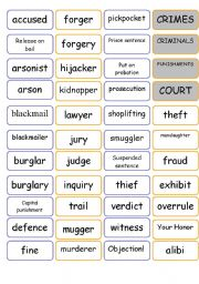 English Worksheets: Crime vocabulary - Intermediate