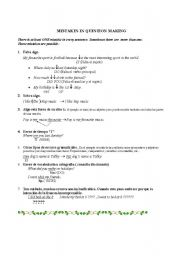 English Worksheets: Mistakes in question making
