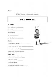 English Worksheet: DVD Session Bee Movie