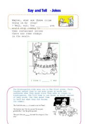 English Worksheet: Reported speech -  jokes 2(say and tell)