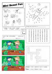 English Worksheets: Mini Beast Fun Worksheet