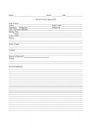 English worksheet: Short Story Analysis