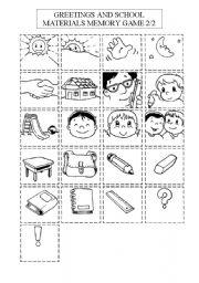 English Worksheets: School materials and greetings memory game 2/2