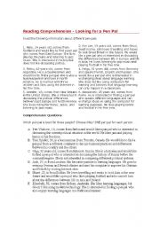 English Worksheet: Reading Comprehension-Exercise about pen pals