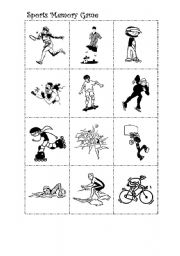 Sports memory game-( Black and white version)