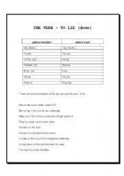 English Worksheets: I lie down / I lay down