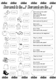 English Worksheets: How much is the ...? How much are the ...? (2)