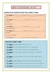 English Worksheet: FIRST CONDITIONAL: IF OR UNLESS?