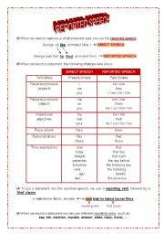 English Worksheets: Reported speech - statements (present simple)