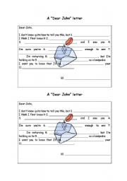 English Worksheets: A dear John letter - part 2