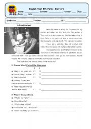 English Worksheet: english test 5th form (1st part) 2 pages (the other 2 pages- 2nd part)