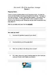 English Worksheets: Secret life of the American Teenager Episode 2