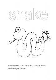 English Worksheets: Complete the snake