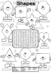 English Worksheets: Wordsearch SHAPES