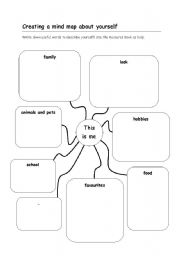 English Worksheet: Creating a mind map about yourself