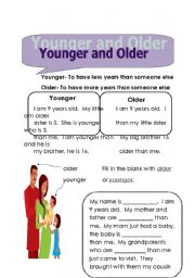 English worksheet: younger and older