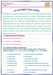 English Worksheet: AN INTERESTING HOBBY (Unusual Hobby in Thailand)